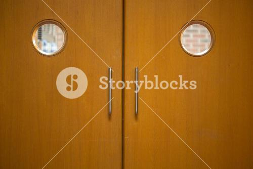 Detail shot of a closed wooden doors