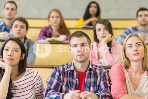 Students at the college lecture hall