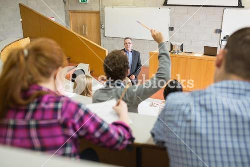Students and teacher at the lecture hall