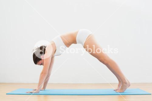 Sporty woman doing the Downward Facing Dog pose