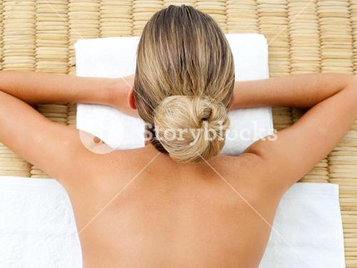 Blond woman relaxing