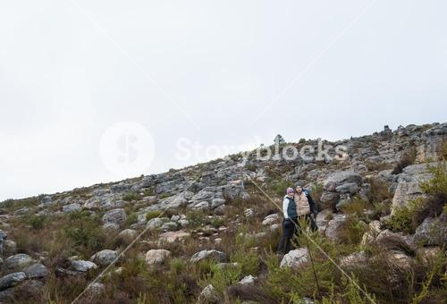 Couple standing on rocky landscape against clear sky