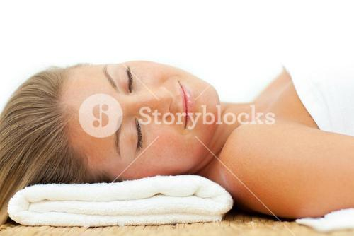 Portrait of woman sleeping after a spa treatment