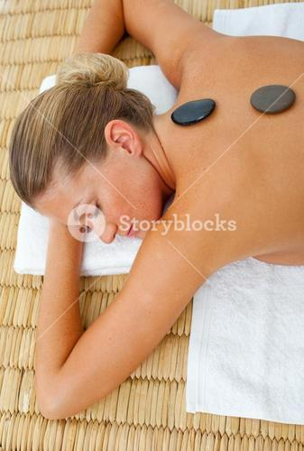 Close up of woman getting spa treatment