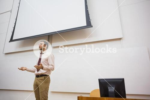 Teacher standing in the lecture hall