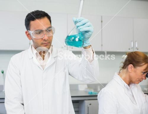 Researcher experimenting in the lab