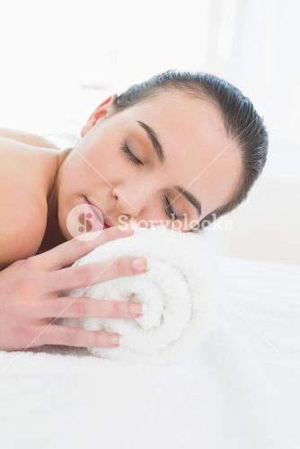 Beautiful woman resting at beauty spa