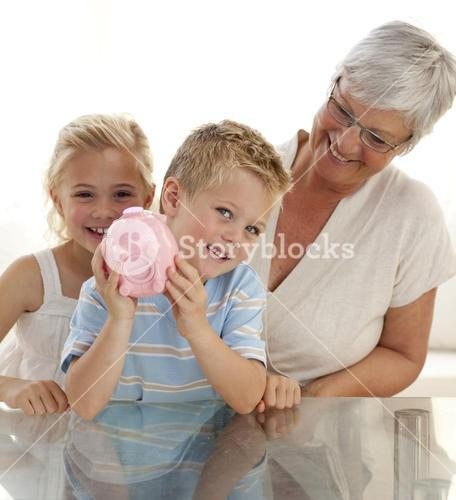 Grandmother and children saving money