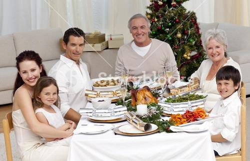 Family celebrating Christmas dinner