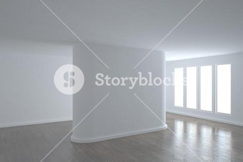 Bright room with wall in the middle