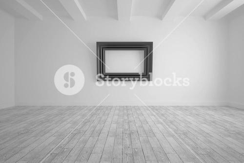 Big room with frame at wall