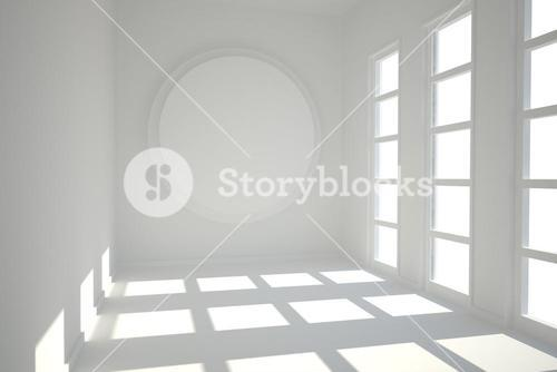 White room with circle at wall