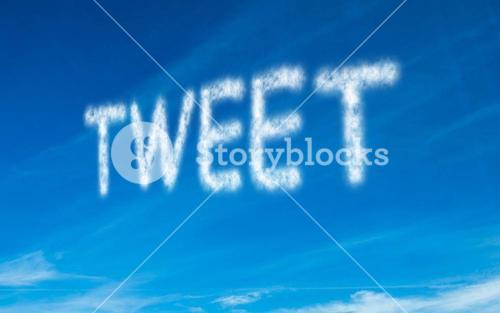 Tweet written in white in sky