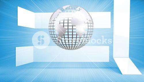 Silver globe on blue abstract background