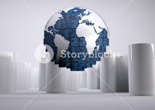 Digital globe on grey abstract background