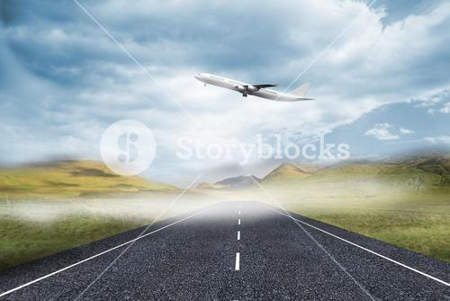 3D plane taking off over street