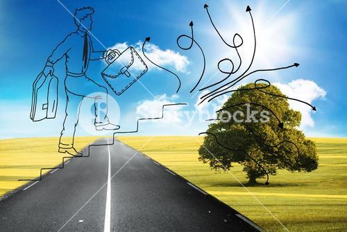 Comic man climbing stairs over road