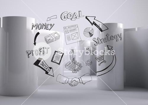 Drawn graphic on abstract grey background