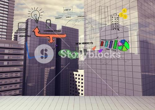 Drawn graphic on cityscape background