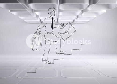 Drawn man on grey abstract background