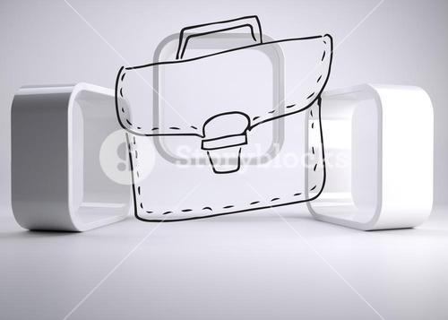 Drawn bag on grey abstract background