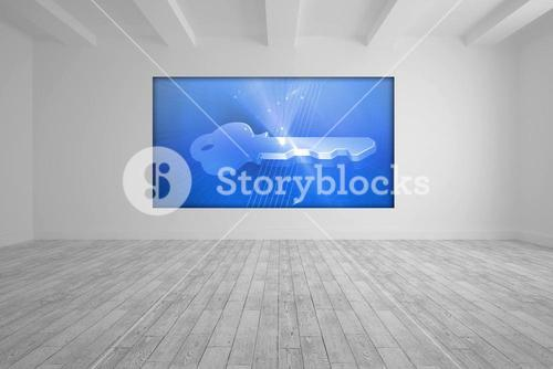 White room with blue picture key