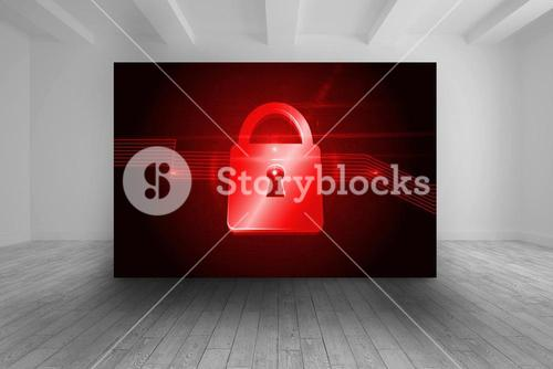 Room with futuristic picture of red lock