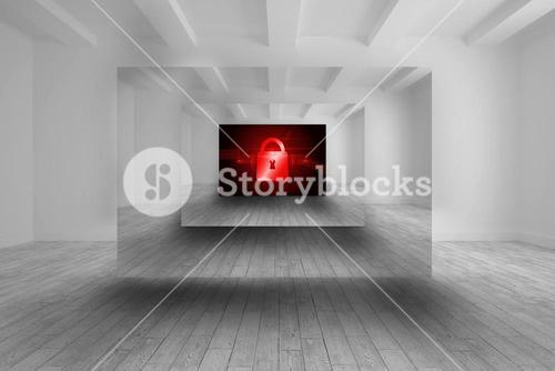 Room with picture of red lock
