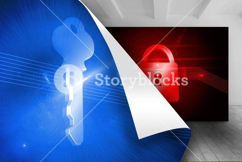 Blue background with key over picture of red lock