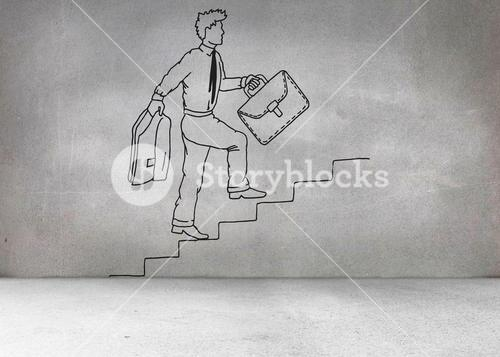 Grey wall with comic man climbing stairs