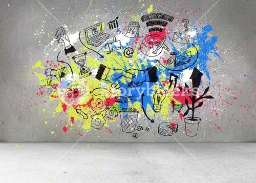 Grey wall with graphics and splashes