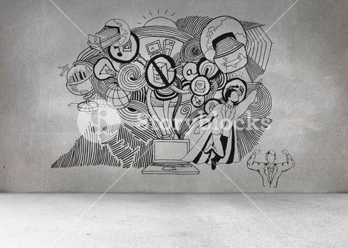 Grey wall with illustrations