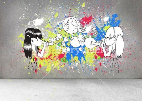 Grey wall with illustrations and splashes