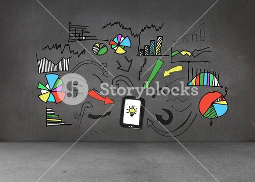 Colorful graphic on dark wall