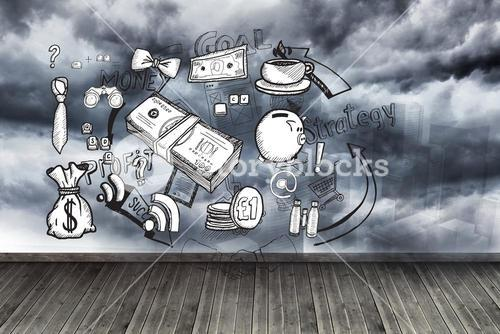 Graphics on wall with stormy sky