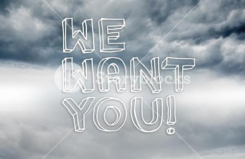 We want you written on sky background