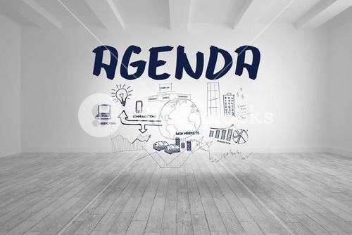 Agenda with flowchart written in bright room