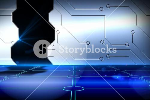 Doorway on technological background