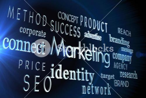 Marketing words on black background