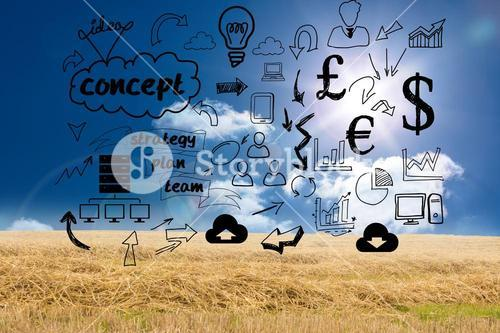 Business graphics over countryside