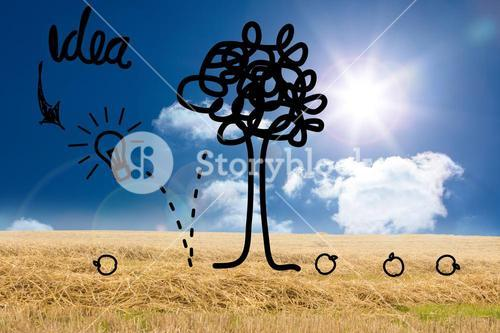 Idea tree graphic over countryside