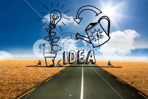 Growing idea graphic over street