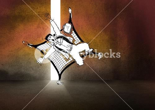 Falling man in dark room