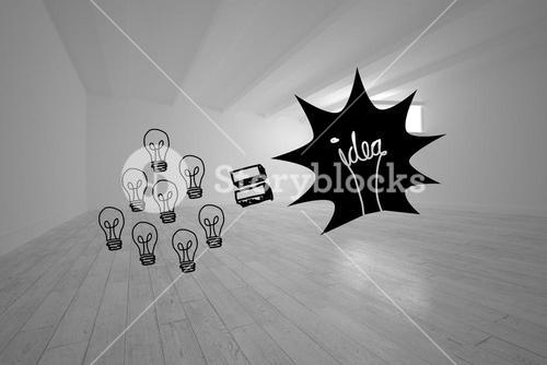 Light bulbs and idea in white room