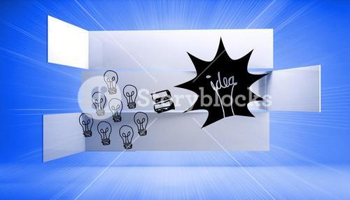 Light bulb and idea on abstract background