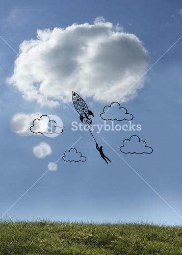 Rocket with man in sky