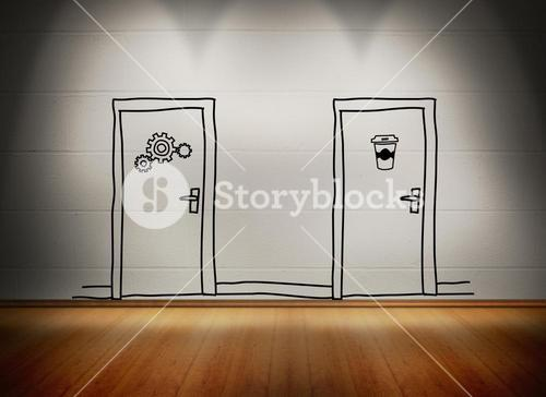 Two doors at white wall in room