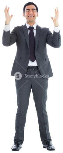Stressed businessman with arms raised