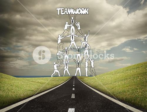 Teamwork graphic with businessmen on counrtyside