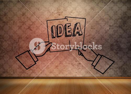 Graphic with two hands holding an idea in empty brown room